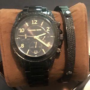 Michael Kors Black Watch w matching MK bracelet